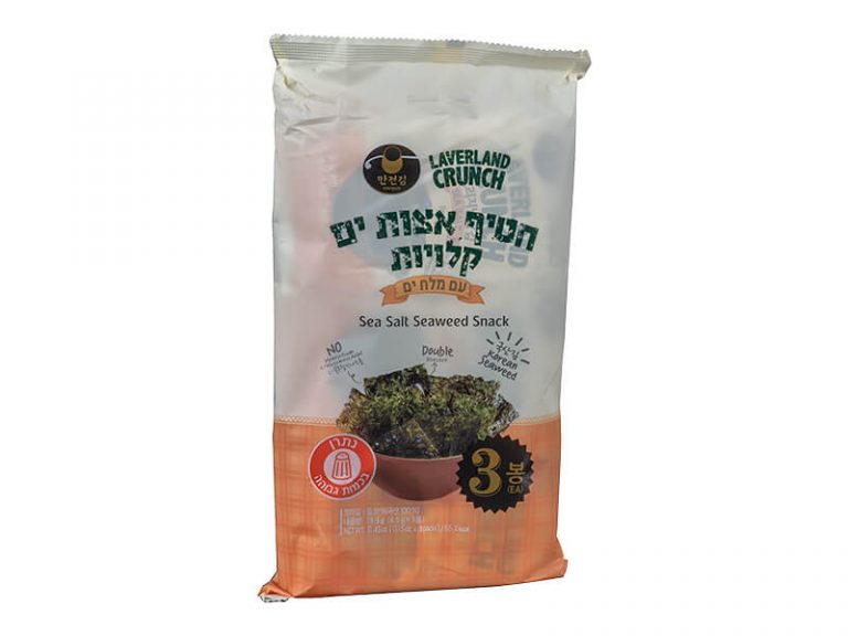 חטיף אצות קלויות עם מלח 3 יח' / 4.5 גרם